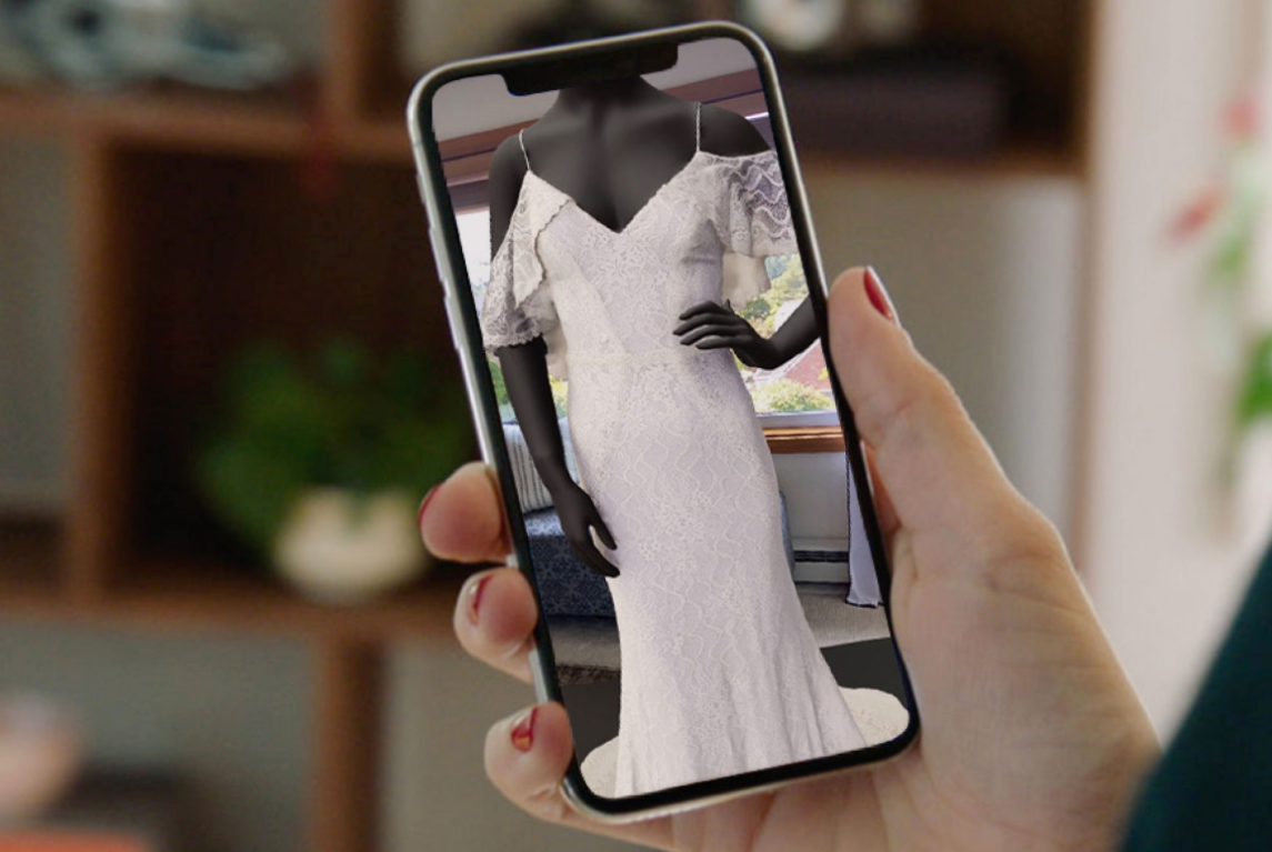 David's Bridal partnered with 3D/AR tech provider Vertebrae to bring virtual bridal gowns and dresses into the online shopping experience.