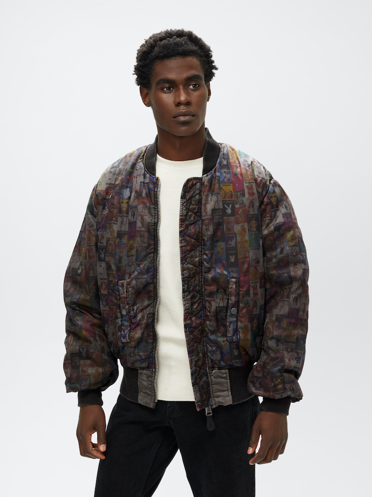 Alpha Industries debuted a bomber jacket designed in partnership with Playboy, marking its second collaboration with the label.