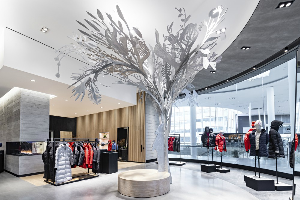 "Canada Goose supports local art, such as the ""Story Tree"" in its Yorkdale store"