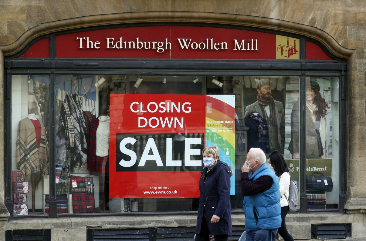 Scottish knitwear firm Edinburgh Woollen Mill collapses into administration, threatening hundreds of stores and thousands of employees.