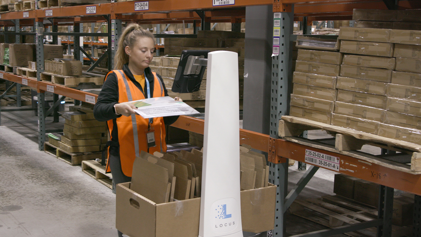 Locus Robotics offers automated warehouse robots equipped with tablets and designed to pick and pack any type of toe, box, bin or container.