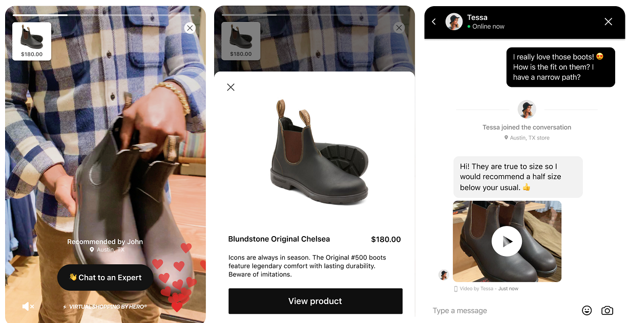 feature is designed to allow brands to deliver a carousel of short, shoppable videos curated by in-store associates, enabling online customers to shop the products featured or to go on to initiate a chat or video call.