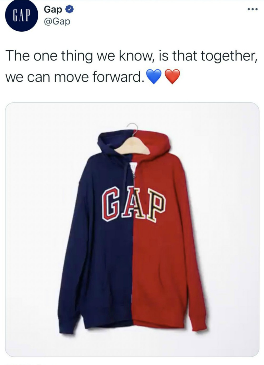 Gap faced backlash over a post-Election Day tweet aimed at easing voter anxieties.
