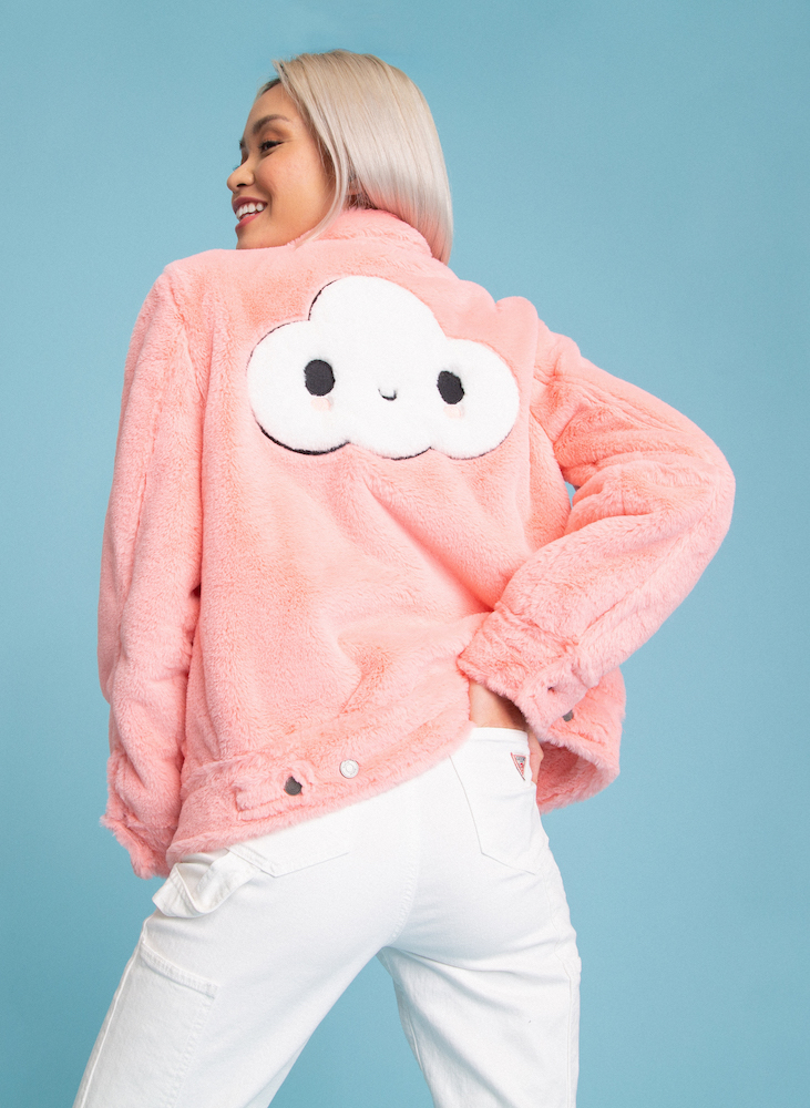 Guess and art collaborative FriendsWithYou teamed up on jackets and sweatshirts featuring the group's joyful character, Little Cloud.