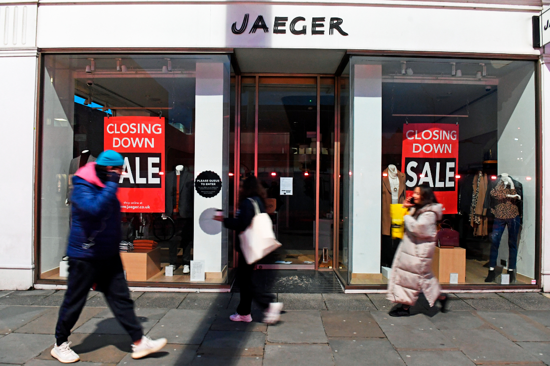 Marks and Spencer acquired bankrupt fashion brand Jaeger's intellectual property, leaving stores and staff likely on the chopping block.