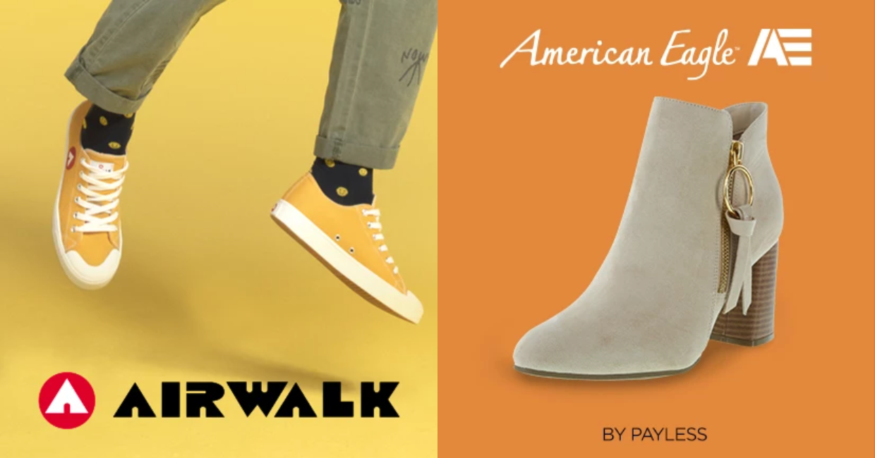 Airwalk and American Eagle are two of the major brands featured on Payless.com.