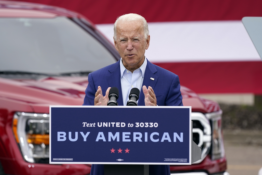 On Sept. 9, then-Democratic presidential candidate Joe Biden spoke during a campaign event on manufacturing and buying American-made products at UAW Region 1 headquarters in Warren, Mich.