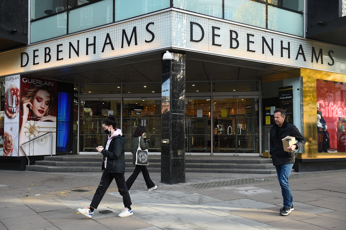 Amid coronavirus lockdowns, U.K. department store Debenhams is permanently closing six stores, including its Oxford Street store in London.