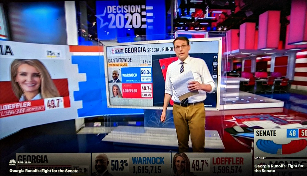 Harkening back to November, MSNBC anchor Steve Kornacki is back in his Gap khakis to manage the electoral map for the Georgia Senate runoff.