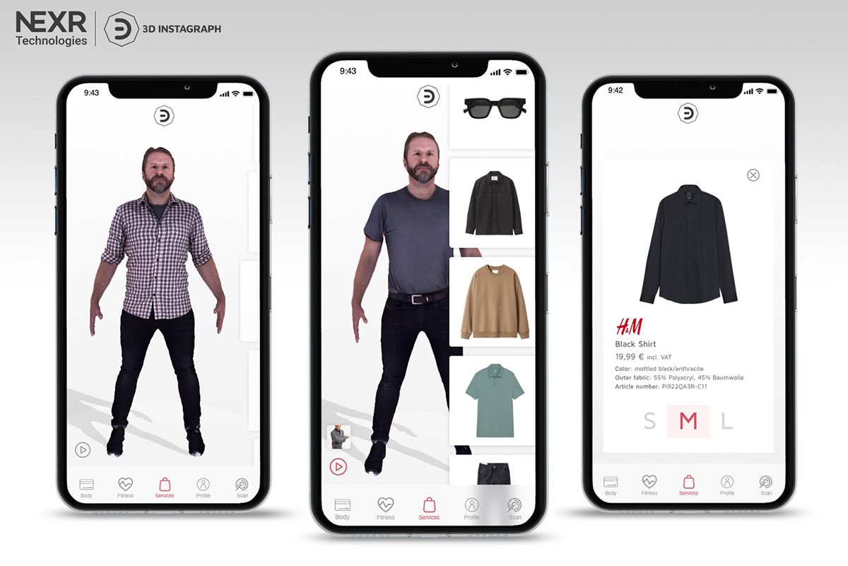 "Hennes and Mauritz's innovation lab teamed with AR/VR firm Nexr Technologies to develop an in-store ""digital fitting room"" in German stores."