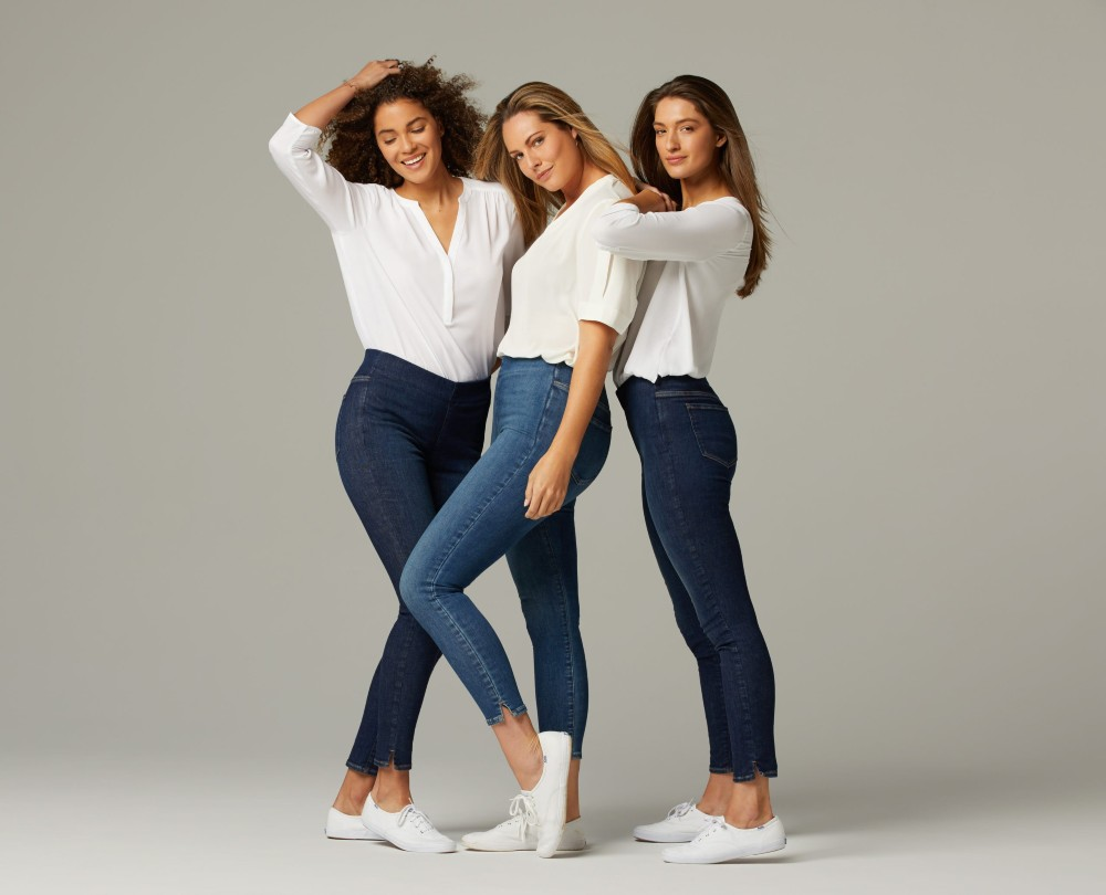NYDJ launched last week—and subsequently sold out of—SpanSpring, a line of skinny jeans that stretch to fit three sizes.