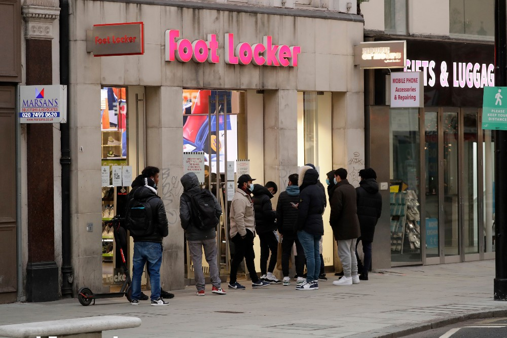 Sixty percent of Foot Locker's stores in Europe and Canada were closed in the fourth quarter.