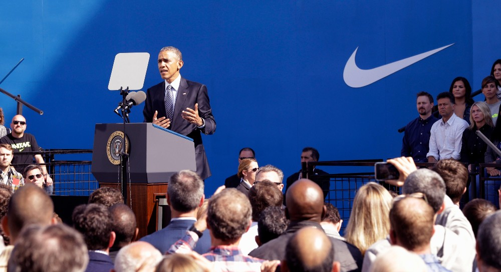 President Barack Obama came to Nike's headquarters in 2015 to promote the TPP