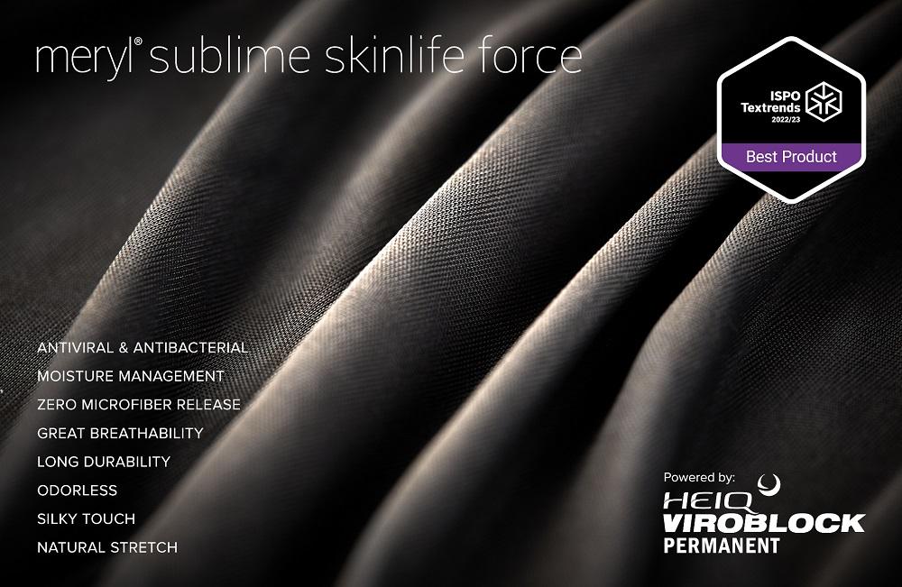 Swiss textile innovator HeiQ and Spanish premium fiber firm Nylstar bowed Meryl Skinlife Force fabric powered by HeiQ Viroblock Permanent.