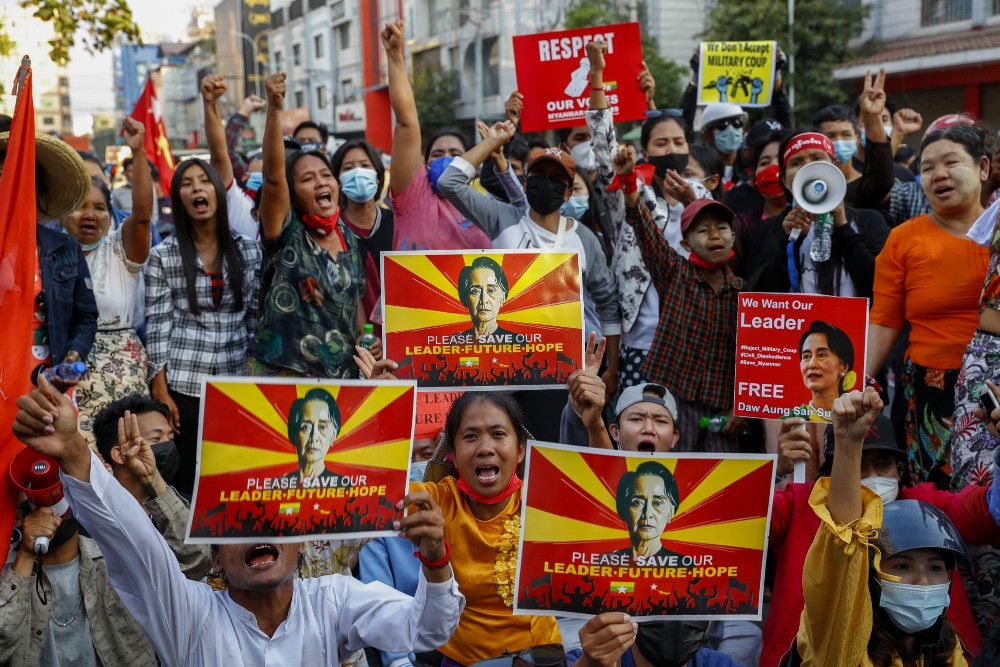 A group of 17 NGOs urged Western fashion brands to denounce the Myanmar military coup and support garment workers striking in protest.