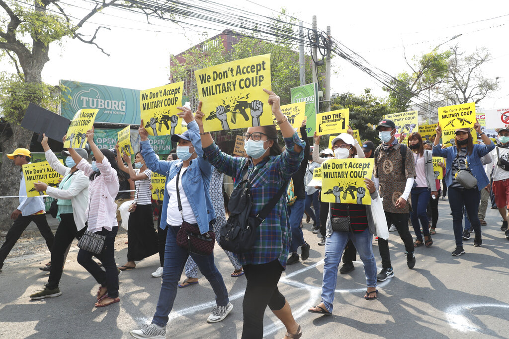 In a spate of protest-related violence, 38 people died over the weekend in Myanmar as dozens of Chinese-financed factories were vandalized.