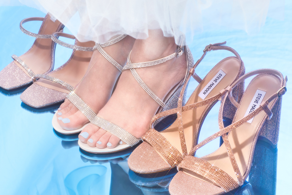 """David's Bridal and Steve Madden launched a crystal-embellished wedding-day footwear collection offering """"wear-again"""" versatility."""