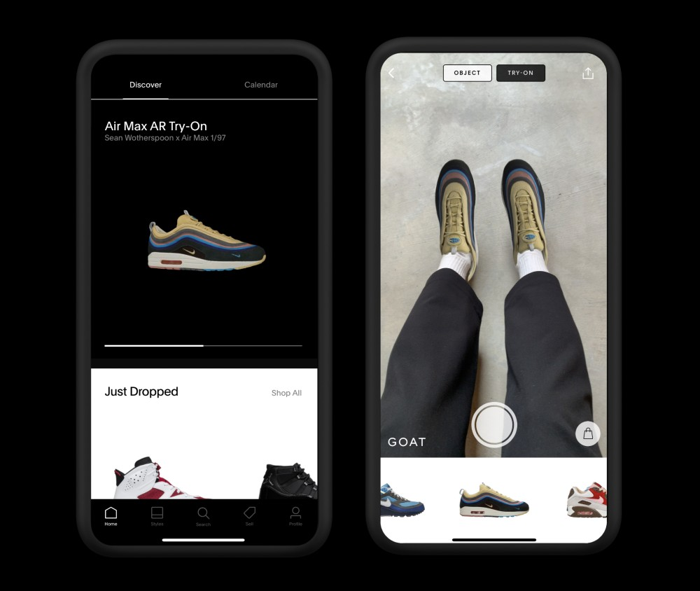 """On Friday, sneaker marketplace GOAT launched a virtual try-on tool through its app allowing users to """"wear"""" rare Nike Air Max silhouettes."""