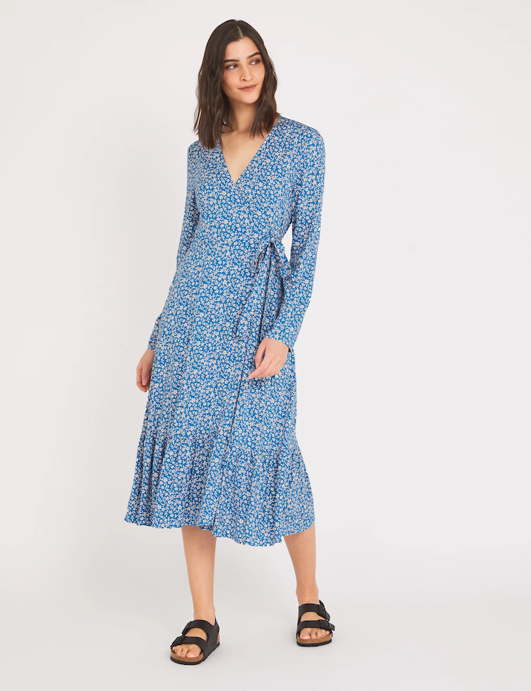 To bolster its apparel offerings, M&S launched an exclusive 20-piece collection with Finery London, with the Floral V-Neck Midi Wrap Dress seen here.