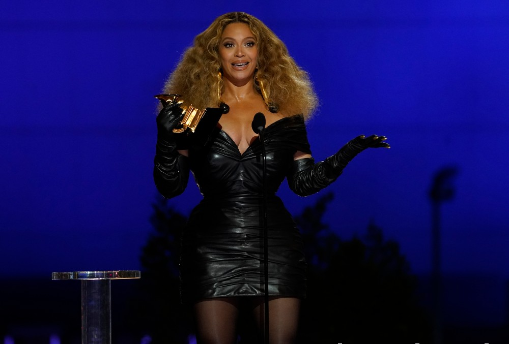Beyoncé wore a leather mini dress designed by Schiaparelli to the Grammy Awards in March