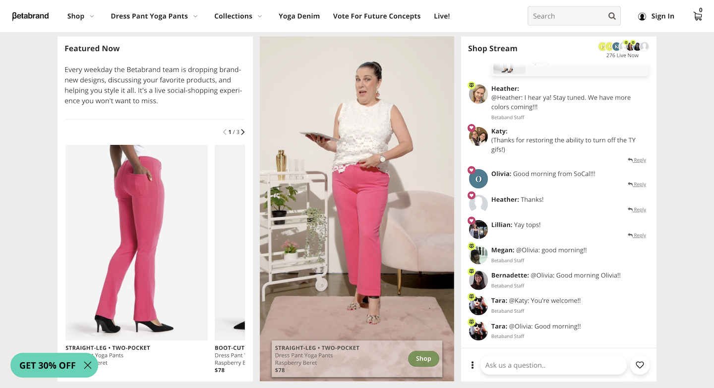 Women's fashion retailer Betabrand and eyewear brand Moscot are creating compelling e-commerce experiences through livestreaming and AR.