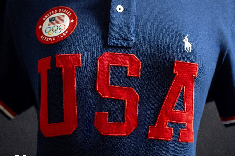Ralph Lauren's Team USA Closing Ceremony Parade Uniforms and apparel collection includes cotton polos made using the brand's less energy-intensive Color on Demand platform