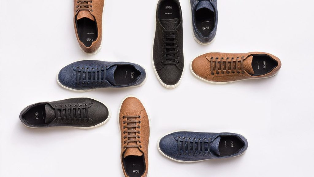 Hugo Boss sneakers made from Piñatex alternative leather.