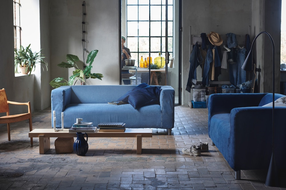 Sustainable denim brand Mud Jeans created a denim couch cover made of upcycled jeans for Ikea's popular Klippan sofa.
