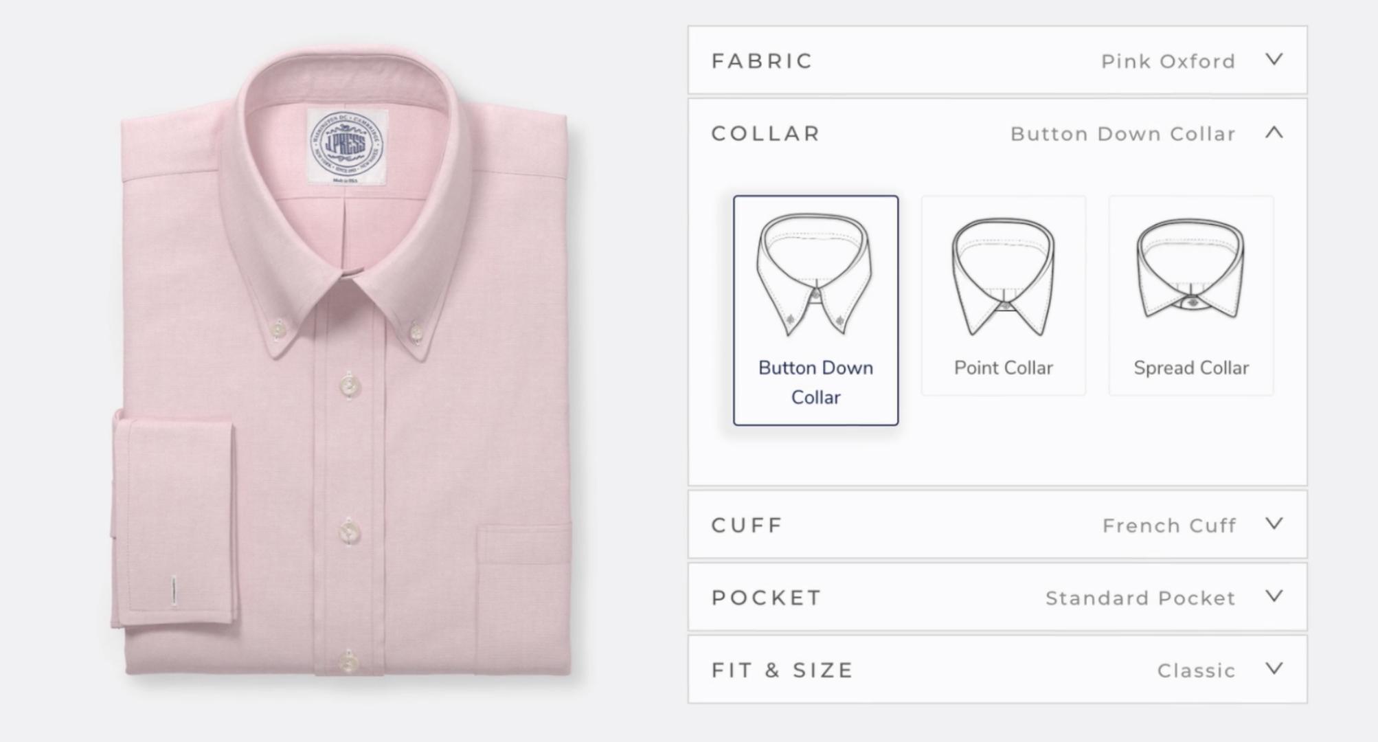 Using tech from product visualization platform Threekit, J. Press implemented dress shirt customization capabilities within its website.