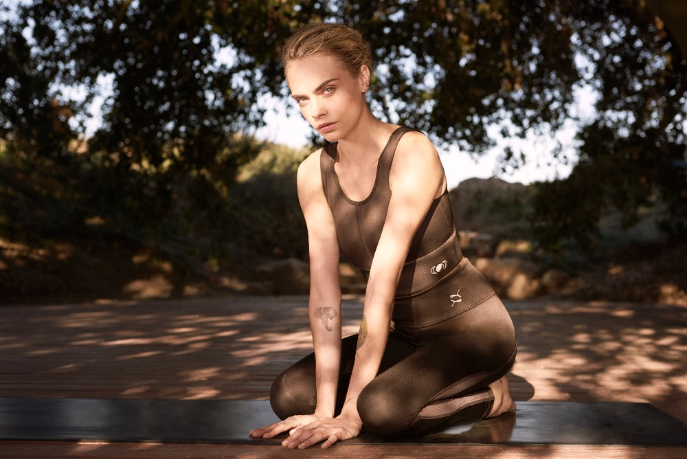 Puma and model Cara Delevingne co-created the eco-friendly, yoga-focused Exhale Collection