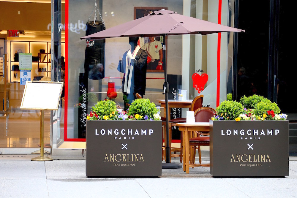 Angelina Paris is opening a pop up terrace at The Longchamp store on Fifth Avenue in New York, NY on May 4, 2021. The 15 seats are open each day from May to July. Photo by Charles Guerin/Abaca/Sipa USA(Sipa via AP Images)