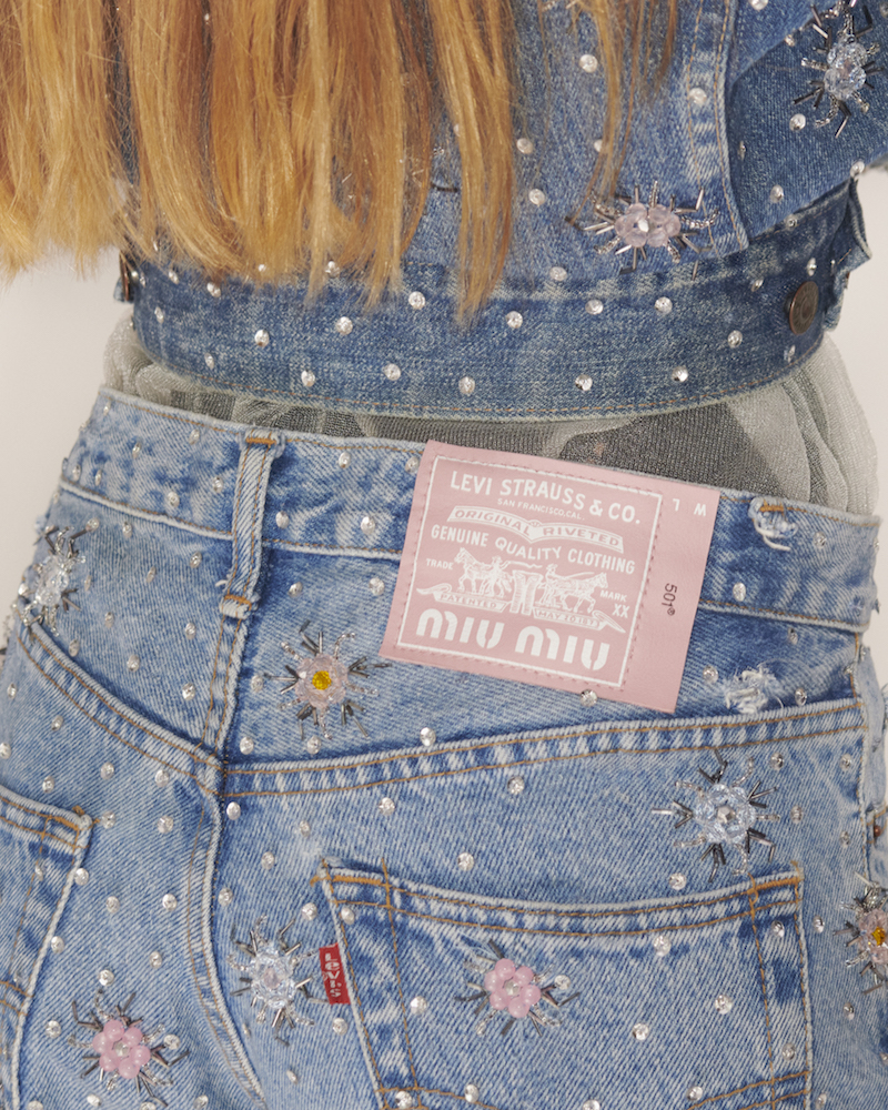 Upcycled by Miu Miu reimagines vintage Levi's jeans as one-of-a-kind statement luxury pieces.