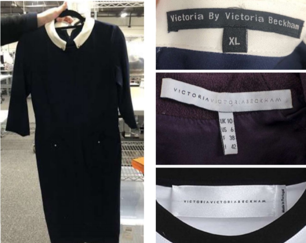 """A Victoria Beckham dress identified on The RealReal's """"Faux and Tell"""" list."""