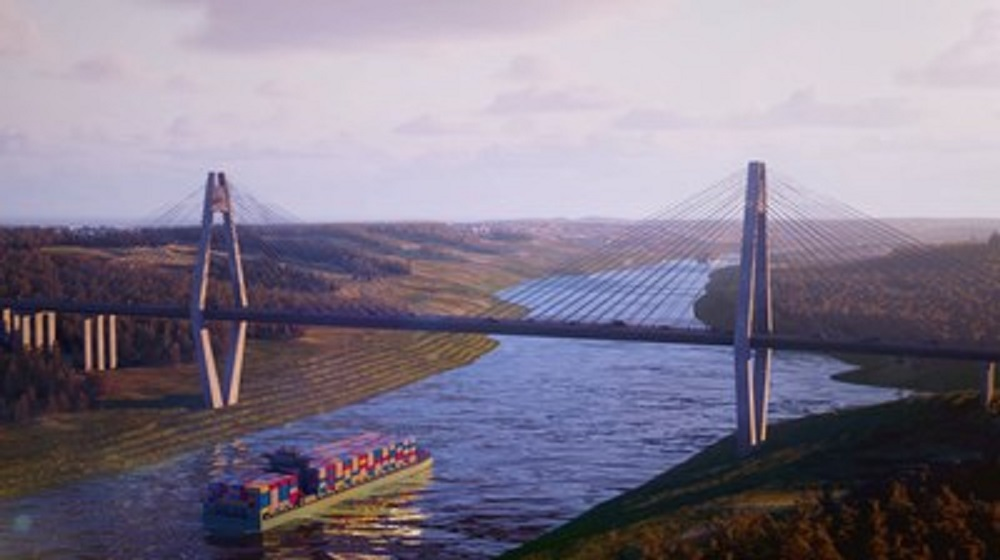 Turkey broke ground on the first bridge of the Canal Istanbul, which country officials said will increase Turkey's standing in world trade.