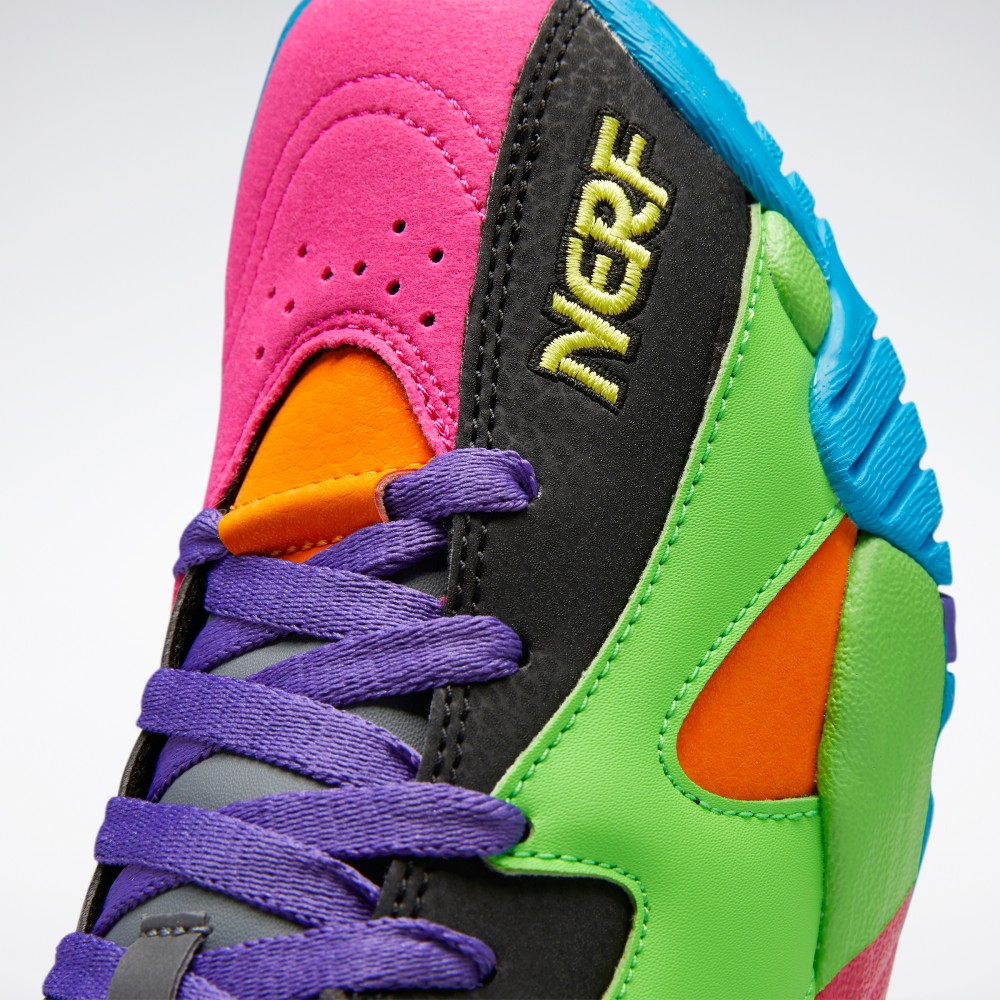 Reebok's collaboration with Hasbro's Nerf brand relies on vibrant colors and basketball motifs.