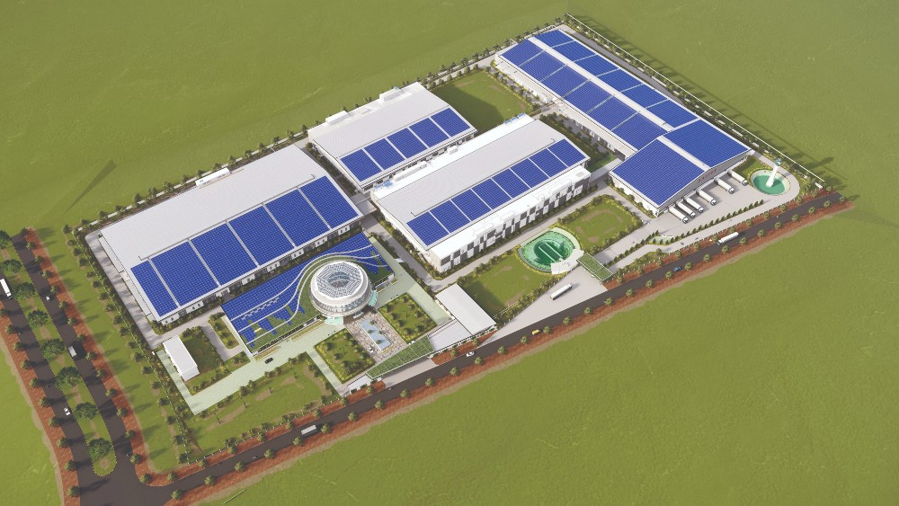 A rendering of Saitex's denim mill, which will open officially in August.
