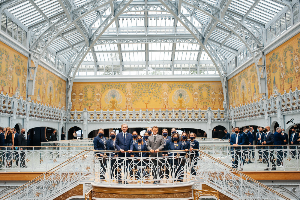 The Samaritaine Paris Pont-Neuf department store reopened on June 23, 2021, after an extensive renovation, with French President Emmanuel Macron, Paris Mayor Anne Hidalgo and Bernard Arnault, Chairman and Chief Executive Officer of LVMH, inaugurating its debut.