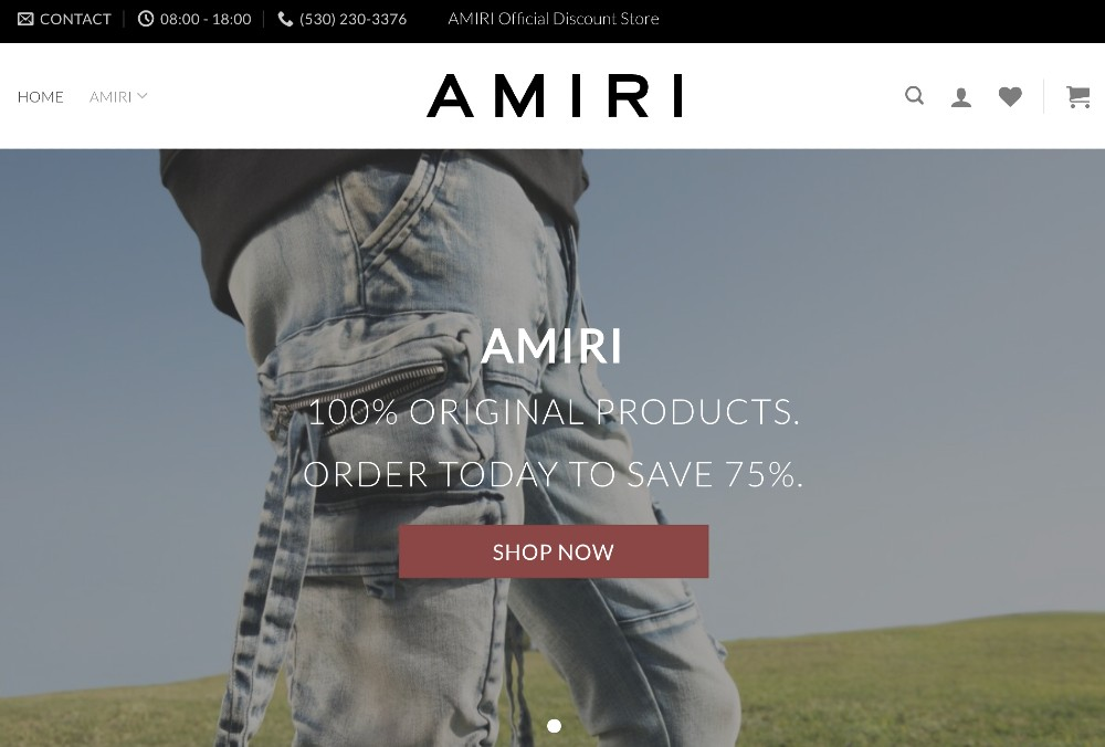 """AmiriOutlet's front page claims to sell """"100% original products."""""""