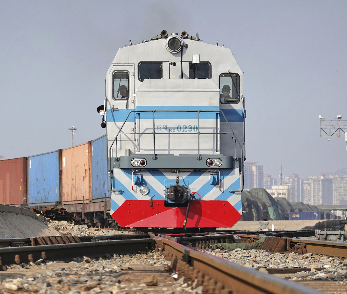 A freight train is set to leave a platform in Yantai city in east China's Shandong province, on the Asia-Europe railway that ends in Liege, Belgium.