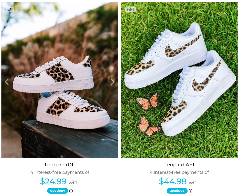 Drip Creationz often sells similar designs of its D1 and Nike's Air Force 1 side by side.