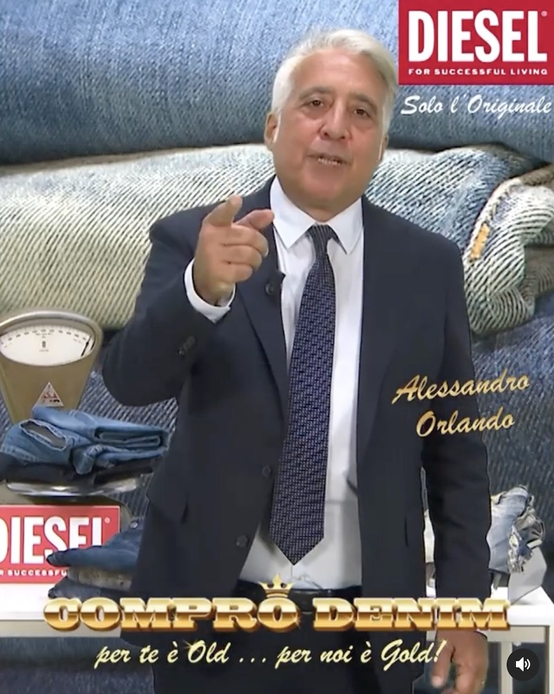 Diesel founder Renzo Rosso promotes a budding buy-back program for pre-owned Diesel jeans on Instagram.