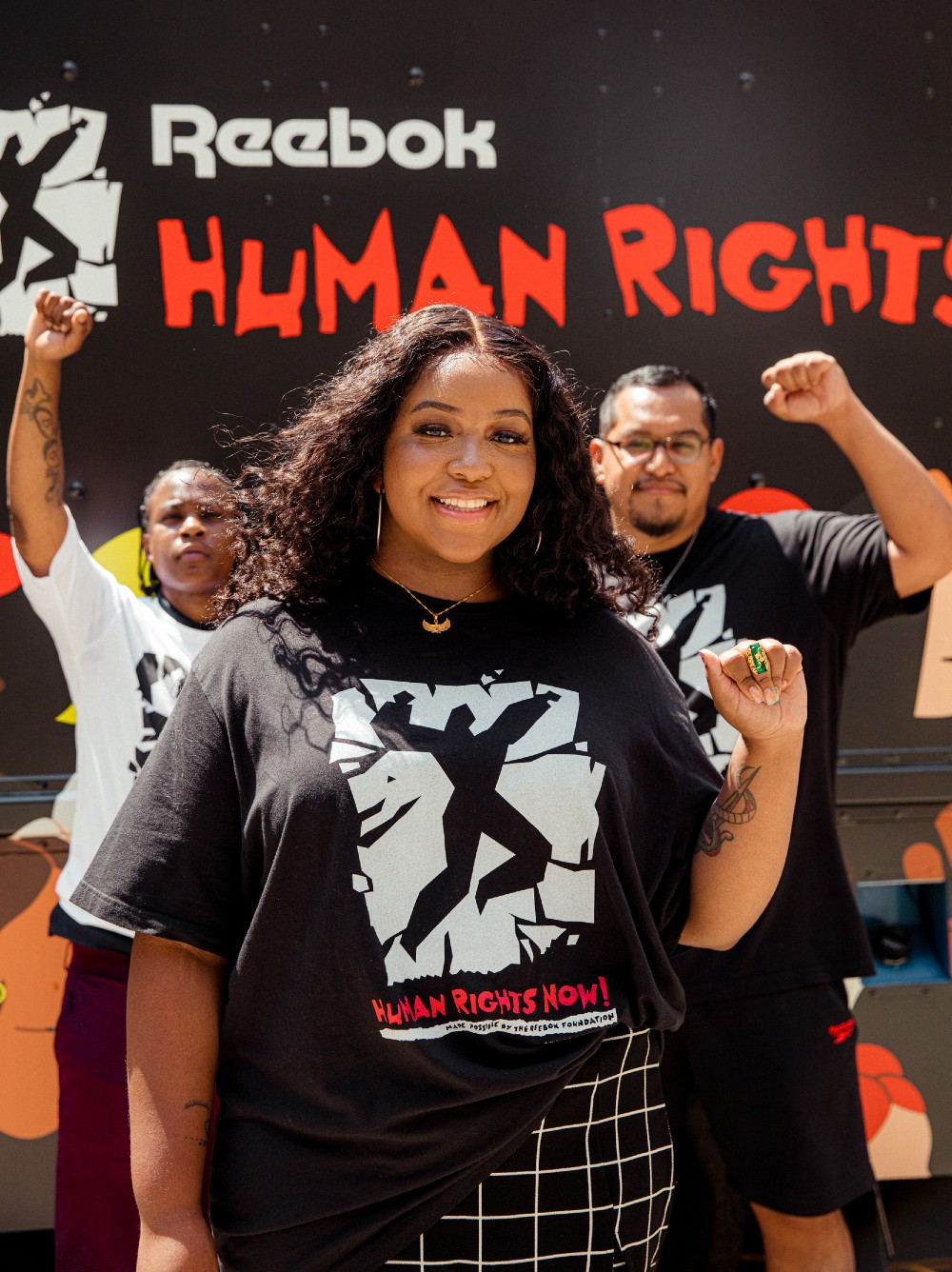 Reebok's Human Rights Award recipients attended a pop-up poetry slam in Brooklyn Friday.