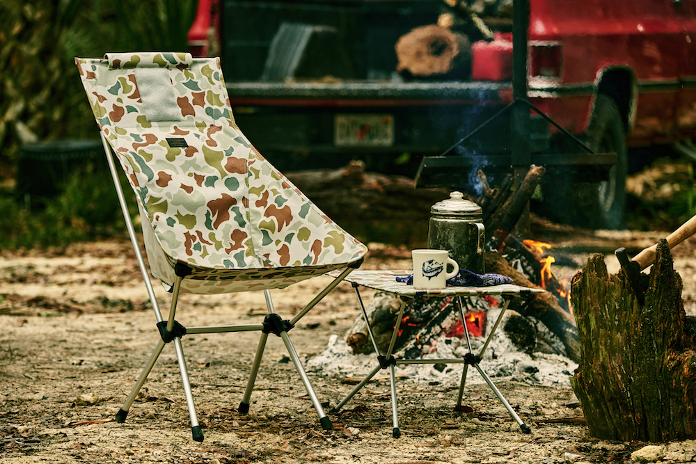 Filson and Helinox collaborated on an outdoor equipment collection featuring popular camo prints for the fashionable outdoor enthusiast.