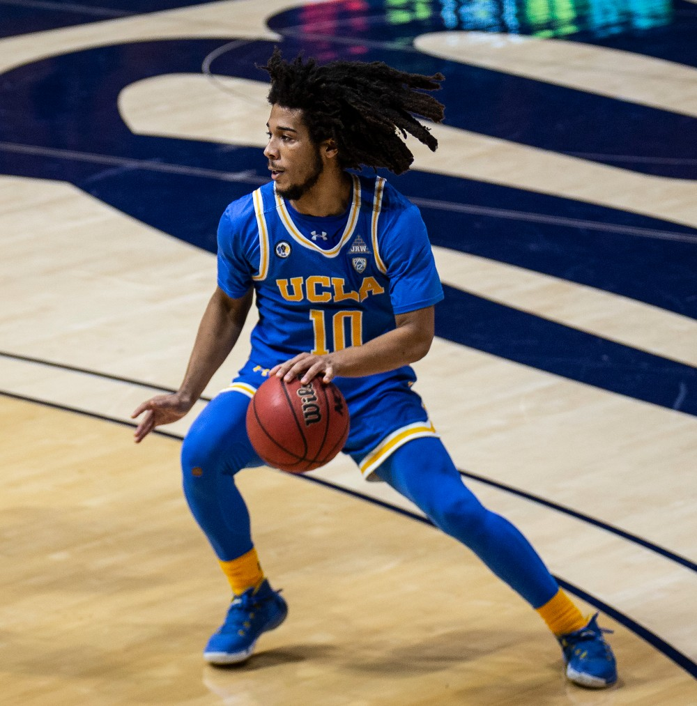 UCLA Bruins guard Tyger Campbell in an Under Armour-produced uniform on Jan. 21.