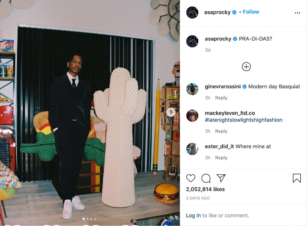 A$AP Rocky teased an upcoming collaboration between Adidas and Prada on Instagram