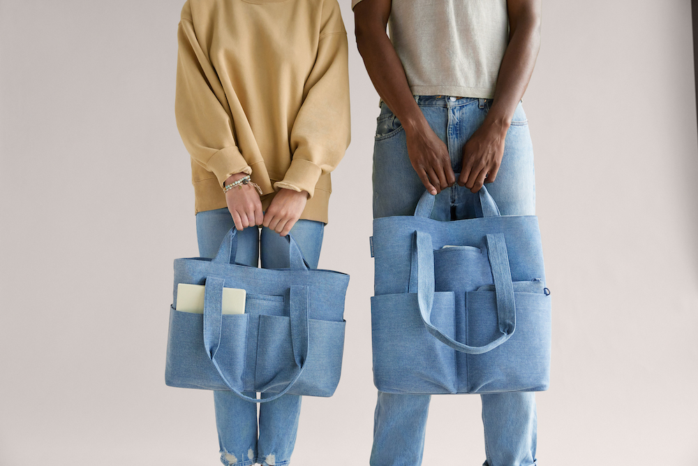 Organic cotton denim is the main character in Dagne Dover's new tote collection.