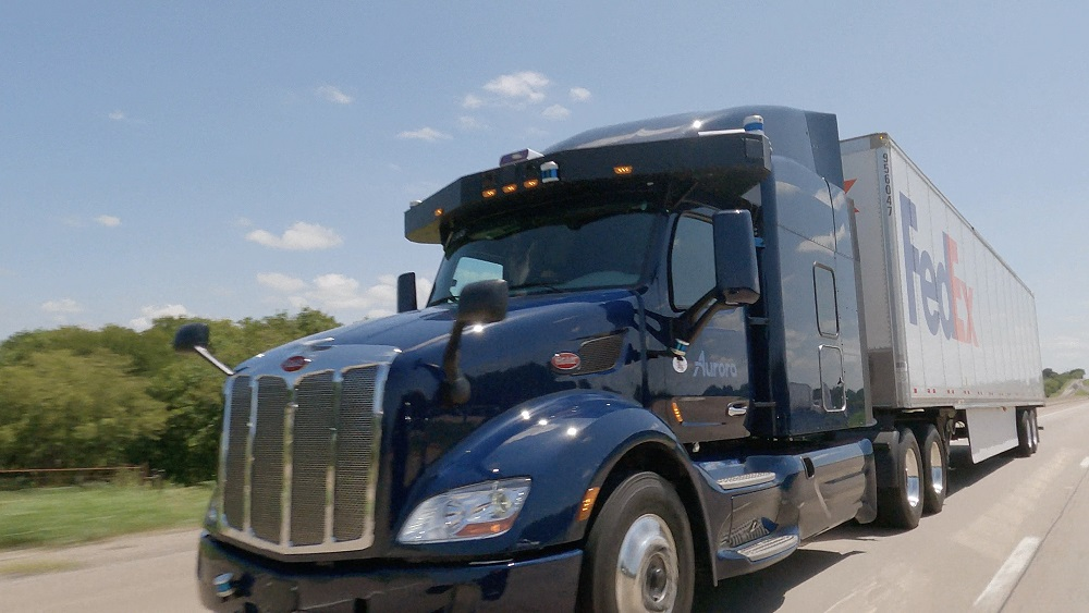FedEx began a collaboration with Aurora and PACCAR to test Aurora's autonomous driving tech in PACCAR AV trucks within FedEx linehaul ops.