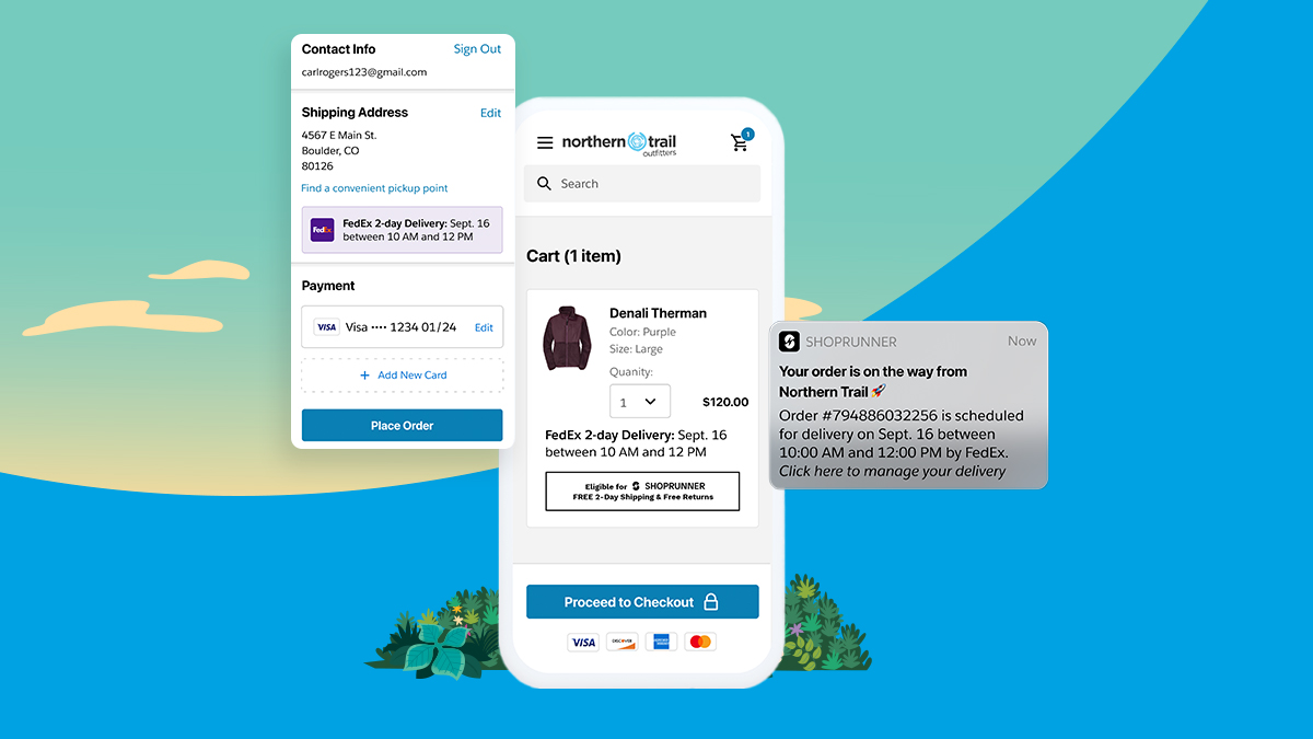 The new integration between FedEx, ShopRunner and Salesforce Commerce Cloud, seen here, is expected to launch in spring of 2022.