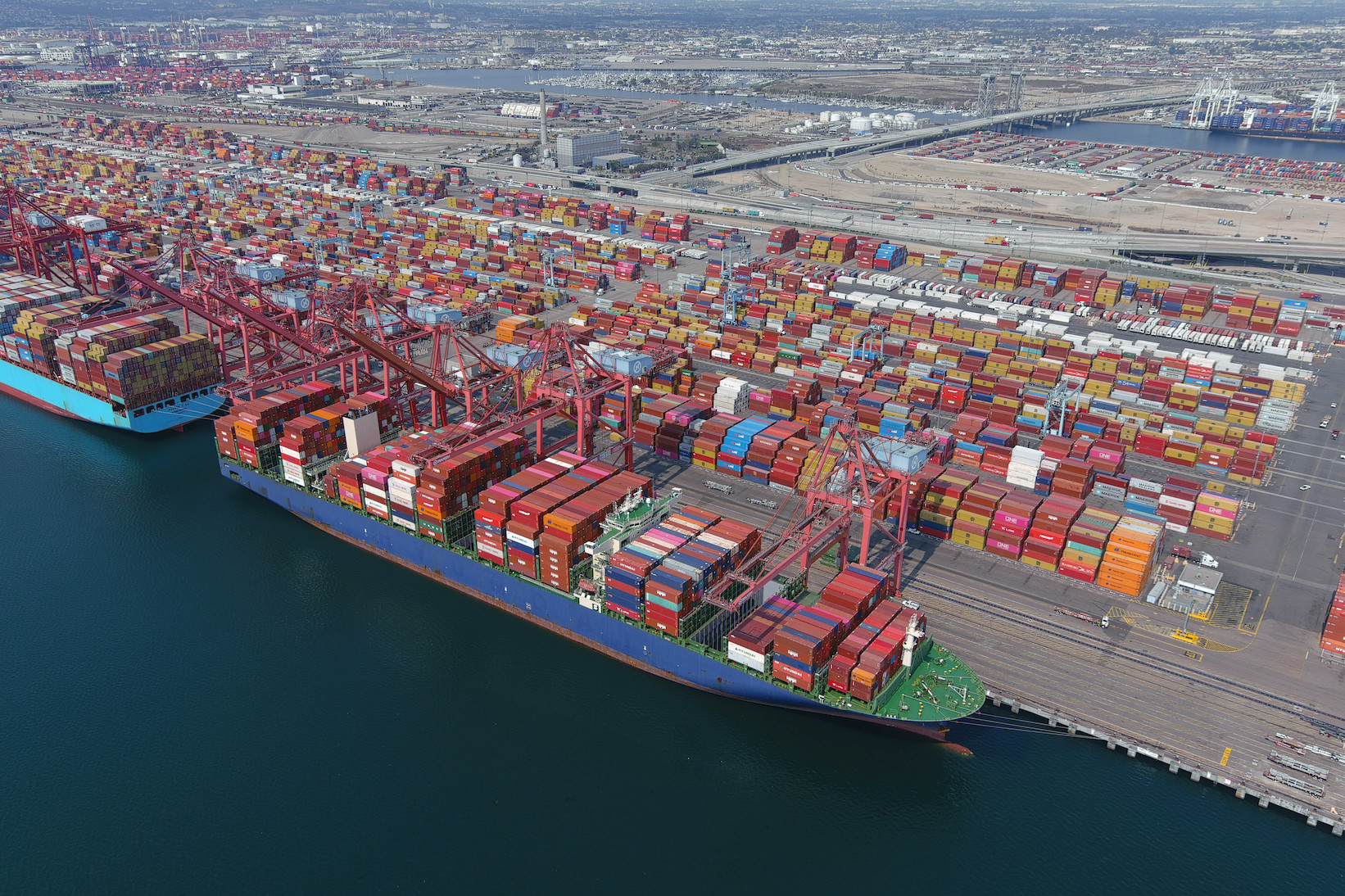 """Cargo container vessels ships are backlogged at the Port of Long Beach, where cargo """"call sizes"""" have increased 73 percent since the first half of 2019."""