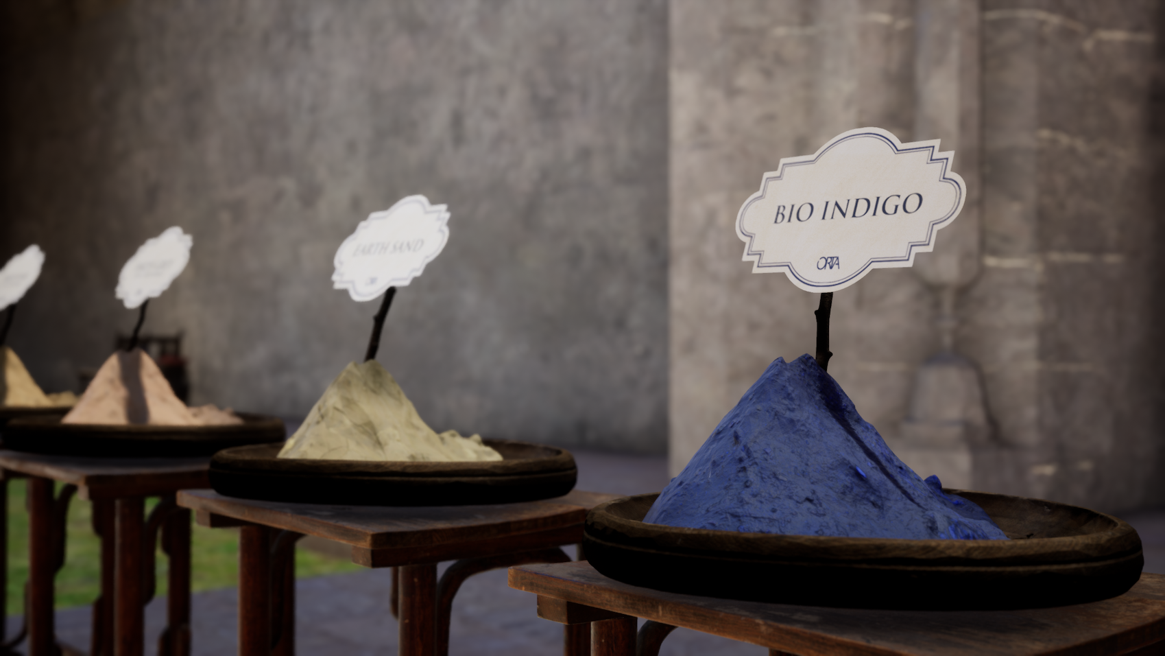 3D samples of ORTA's various dyes, such as Bio Indigo and Earth Sand